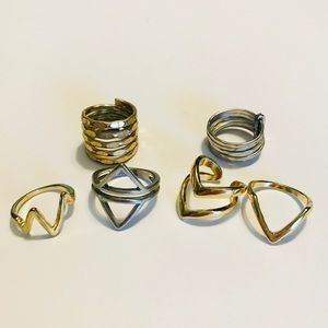 Silver/gold toned rings/midi rings bundle